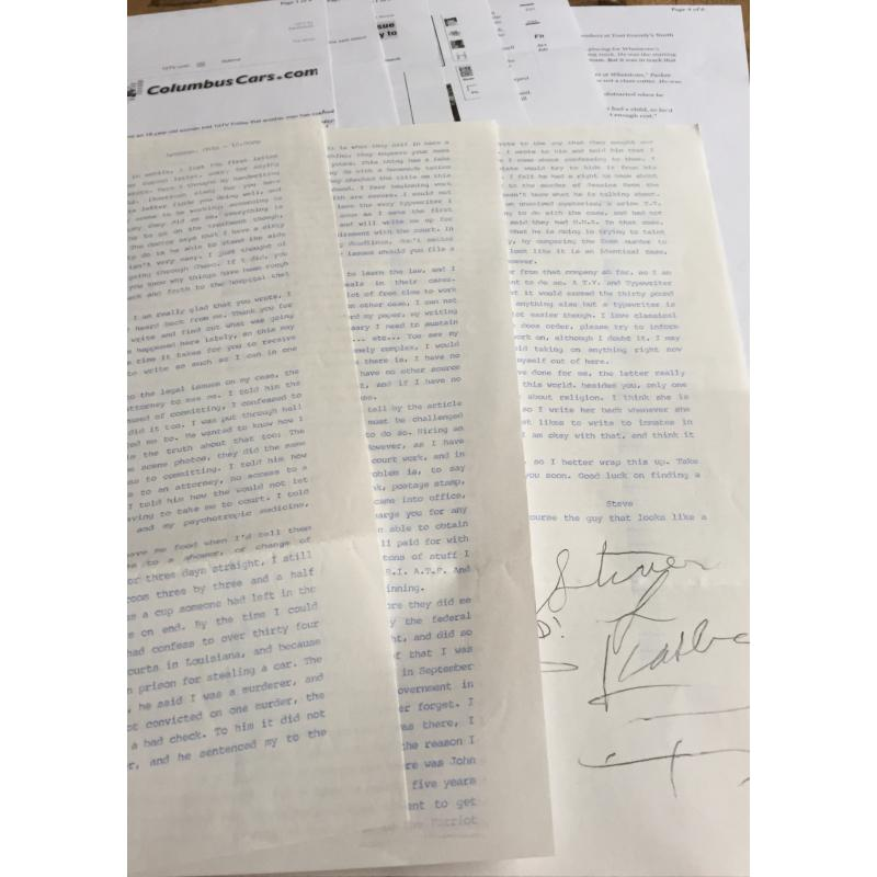 DECEASED SERIAL KILLER STEVEN KASLER HANDWRITTEN LARGE ENVELOPE/TYPED SIGNED 3 PAGE LETTER/DOCUMENTS/LARGE PHOTO