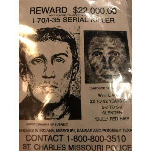Herbert Baumeister I-70 Reward poster of 22,000.00$ serial killer 4x6 poster late 80's