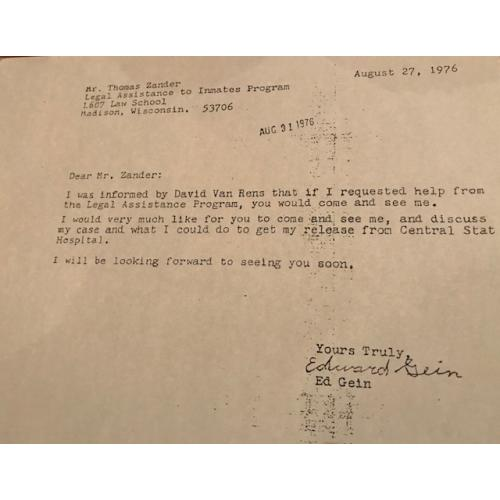 Edward Gein 8.5 x 11 letter requesting legal assistance from 1976