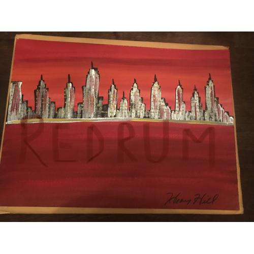 Henry Hill 11 x 15  painting of NYC in red blood signed Henry Hill from 2012