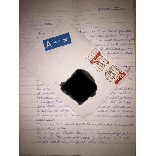 MICHEL LELIEVRE ACCOMPLICE MARC DUTROUX HANDWRITTEN LETTER/ENVELOPE SET