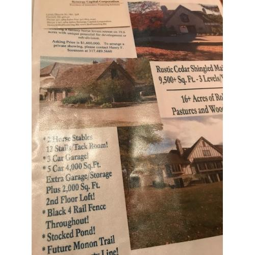 Herbert Baumeister Fox Hollow Farm flyer for the house sale