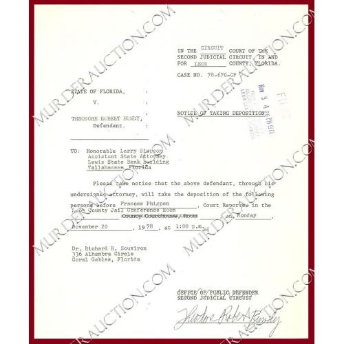 THEODORE ROBERT BUNDY signed court document 11/20/1978 EXECUTED