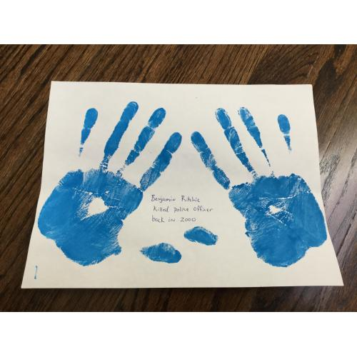 Benjamin Ritchie Handprints, Signed Death Row Inmate