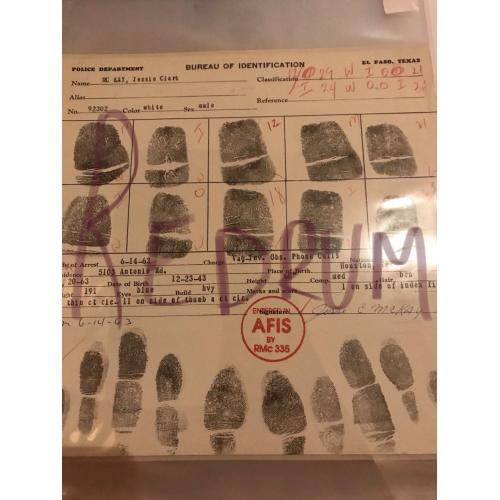 Jessie Clark Mc Kay original fingerprint chart El Paso Texas from 1963