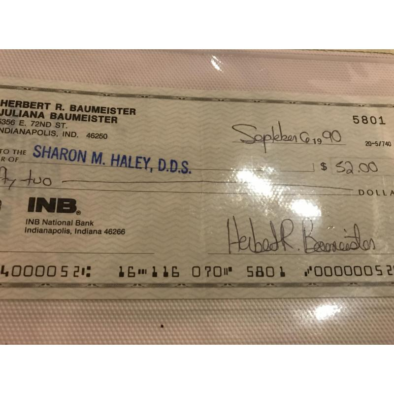 Herbert Baumeister original signed check to his dentist from 1990