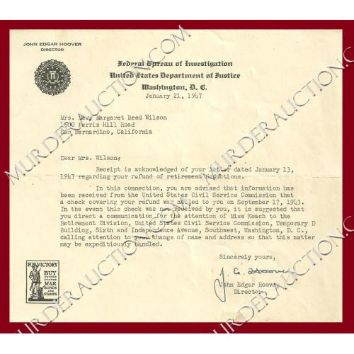 J. EDGAR HOOVER letter/envelope 1/21/1947 DECEASED