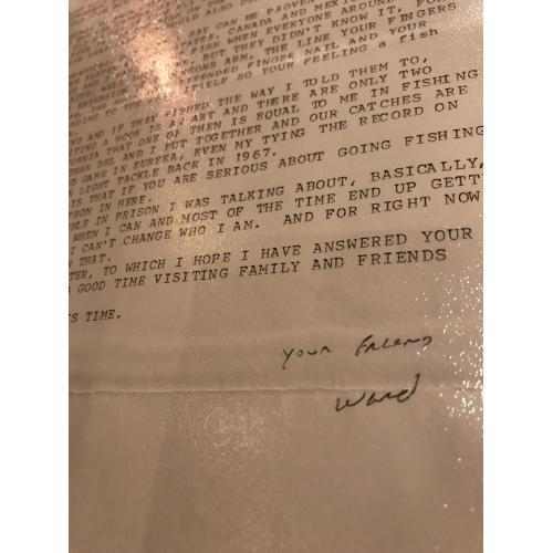 Ward Francis Weaver Jr. 3 pages typed letter from San Quentin State Prison 2004