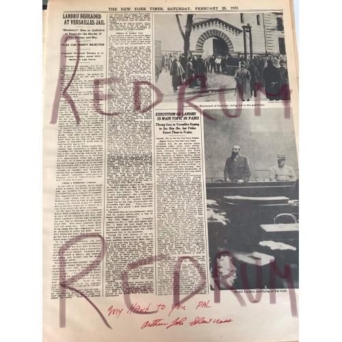 Henri Landru New York Times article Signed by Genessee River Killer from 1922