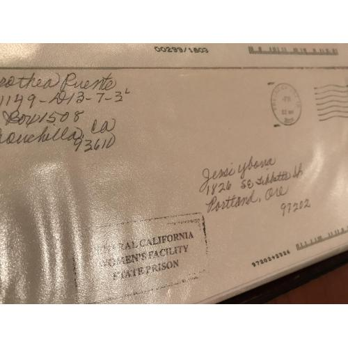 Deceased - Dorothea Puente original handwritten envelope from 2004