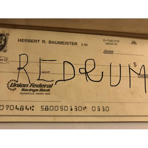 Deceased Herbert Baumeister original virgin check no.330 from his last booklet of checks from 1996