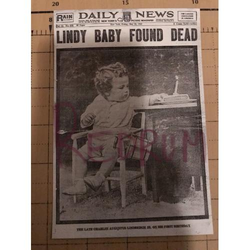 Lindbergh baby found dead 4 x 6 add photograph from 1932