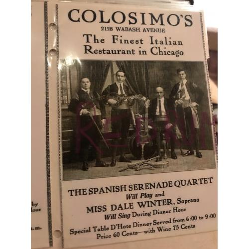 Big Jim Colosimo add for his restaurant in chicago early 1900's no.1