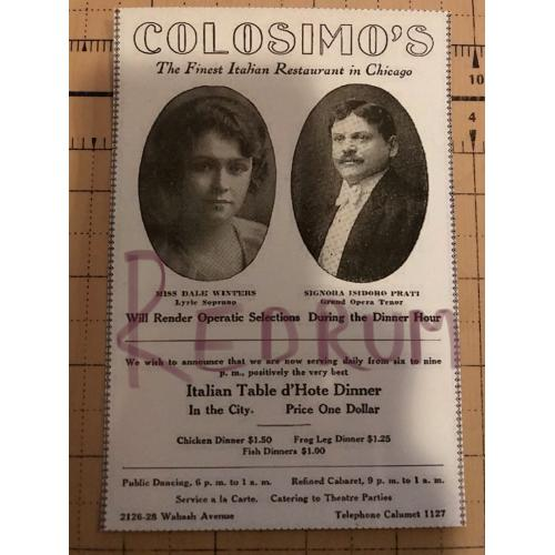 Big Jim Colosimo add for his restaurant in chicago early 1900's No.3