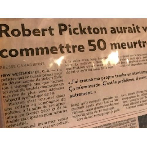 Robert Pickton newspaper clipping wanted to commit 50 murders From 2007