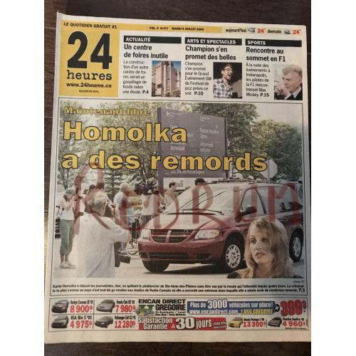 Karla Homolka 24 heures original French newspaper from July 2005