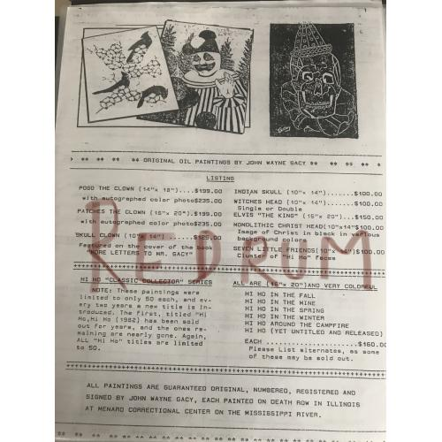 John Wayne Gacy 2 pages painting list advertising to order from 1990