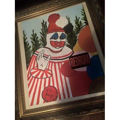 John Wayne Gacy « Goodbye Pogo the Clown » framed  painting  one of his very last ones before execution from 1994