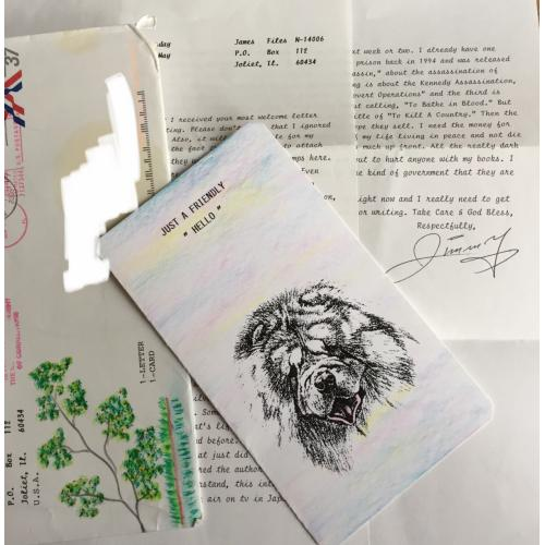 JAMES JIMMY FILES 2 PAGE TYPED LETTER   HANDMADE CARD   ENVELOPE WITH ART