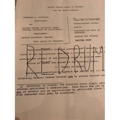 Lawrence Bittaker original typed 30 pages court document from 1995