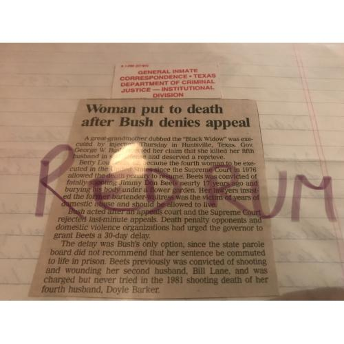 Bettie Beets original Execution Newspaper Clipping from 2000