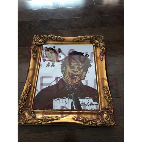 Arthur Shawcross Texas Chainsaw Massacre and self portrait painting on plexiglass vinyl from 2007
