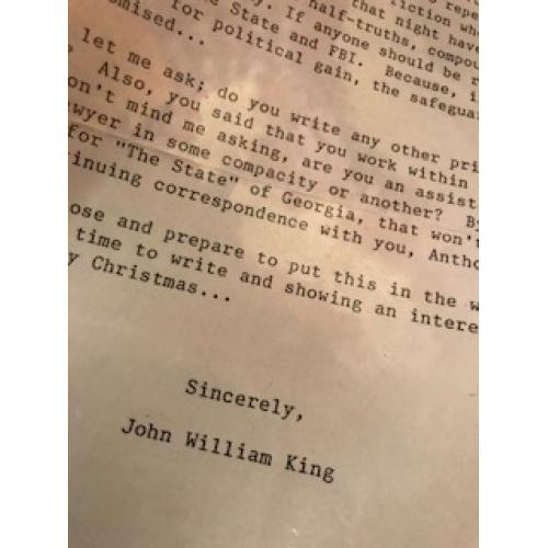 John King TLS with original envelope from 2002