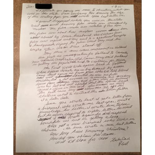 PHILLIP JABLONSKI DEAD SERIAL KILLER HANDWRITTEN LETTER