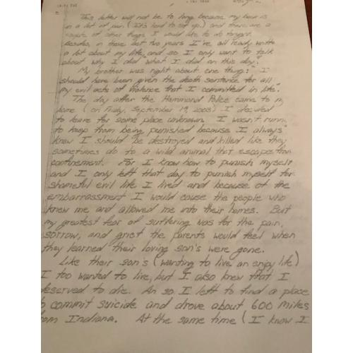 David Maust 7 pages suicide letter sent on January 19, 2006