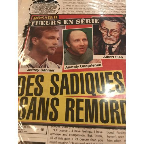 Serial killers French newspaper clipping featuring Dahmer and Fish