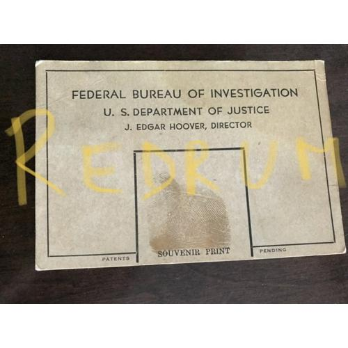 J. Edgar Hoover Federal Bureau of Investigation U.S Department of justice  rare thumbprint on 3 x 5  from 1936