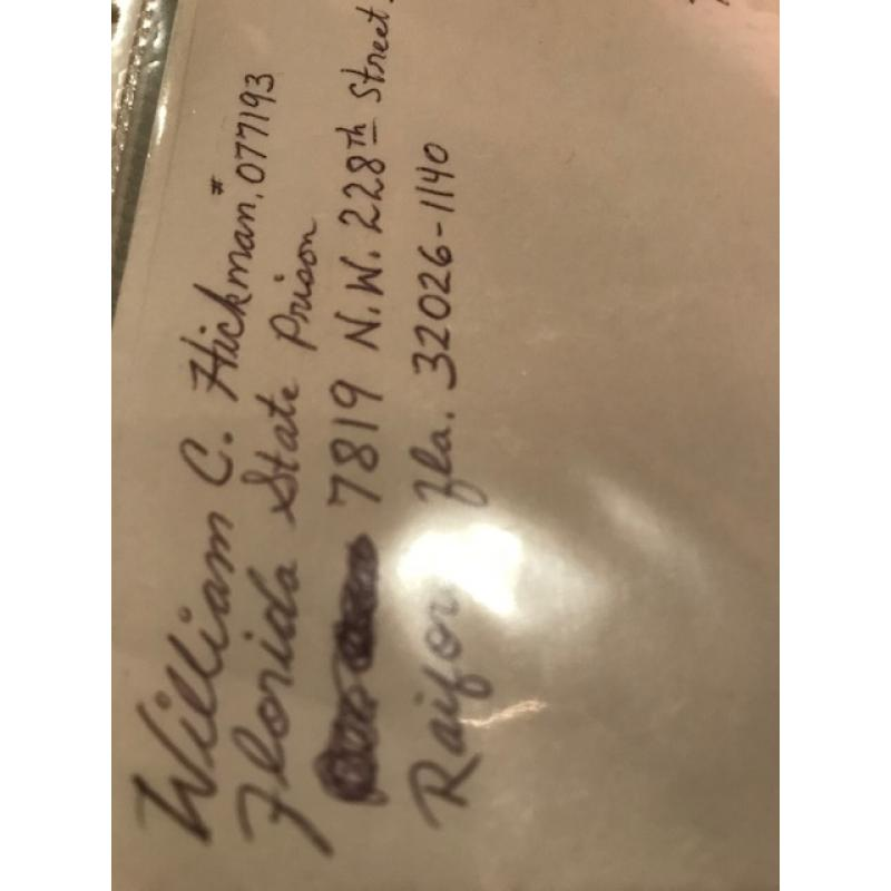 William C. Hickman handwritten envelope with 7 lines penned by him from 2002