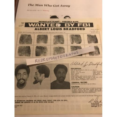 Pre Jim Jones Guyana Massacre original Albert Louis Bradford Wanted by the FBI original poster from 1972