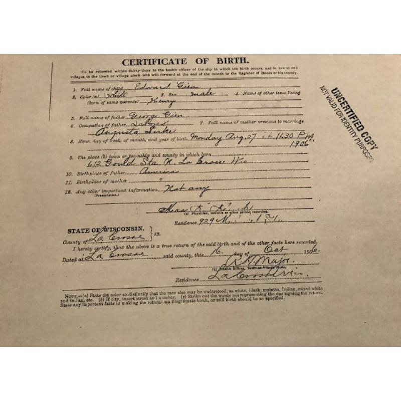Edward Gein birth 8.5 x 11 certificate State of Wisconsin from 1906