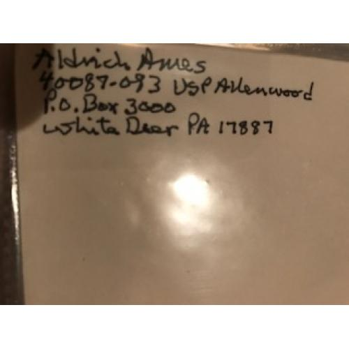 Aldrich Ames original handwritten envelope with 8 lines penned by him from 2015