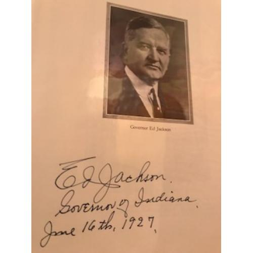 Edward Jackson Governor of Indiana signed photograph dated from 1927