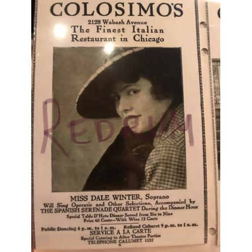 Big Jim Colosimo add for his restaurant in chicago early 1900's No.2