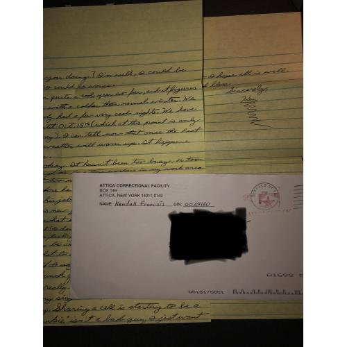 KENDALL FRANCOIS HANDWRITTEN 2 PAGE LETTER WITH MAILING ENVELOPE