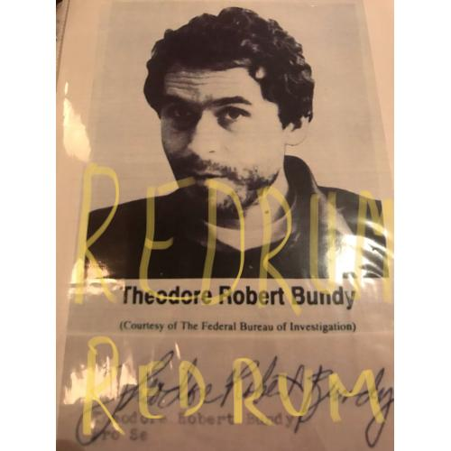 Theodore Robert Bundy 8.5 x 11 paper with his blown up photograph and signature