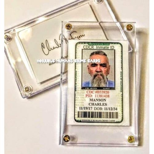 Charles Manson California Prison ID Collector Case * High Quality Reproduction