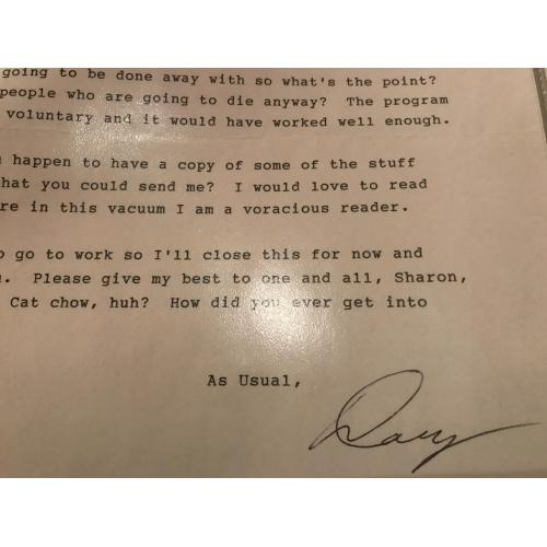 Douglas Gretzler 2 pages letter signed Doug from 1996