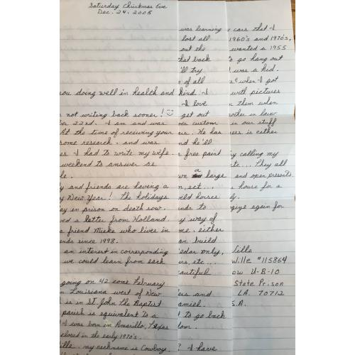 SERIAL KILLER JOHN FRANCIS WILLE 3 PAGE HANDWRITTEN LETTER/ENVELOPE SET