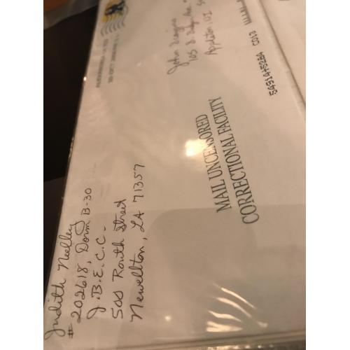 Judith Neelley original handwritten envelope with 8 lines penned by her from 2007