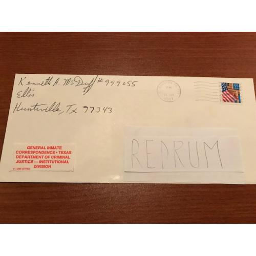 Executed - Kenneth Allen Mc Duff original handwritten envelope from Huntsville TX from 1997