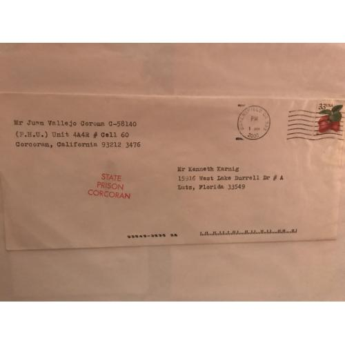 Deceased - Juan Vallejo Corona envelope sent from Corcoran Prison from 2000