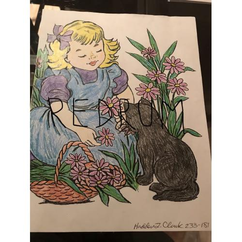 Hadden. Clark colored pencil portrait of a girl with cat and flowers from 2015