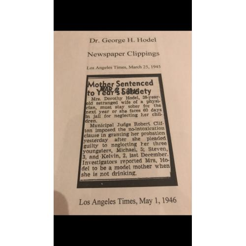 Dr. George H. Hodel newspaper clippings photocopies on 12 pages from 1945