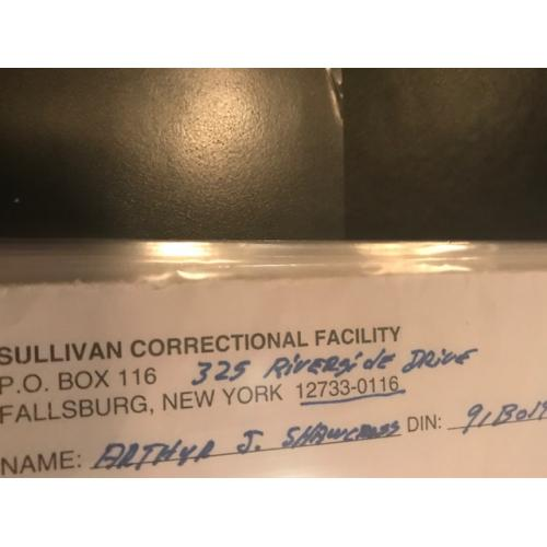 Arthur J. Shawcross handwritten Sullivan Correctional Facility envelope from 2006