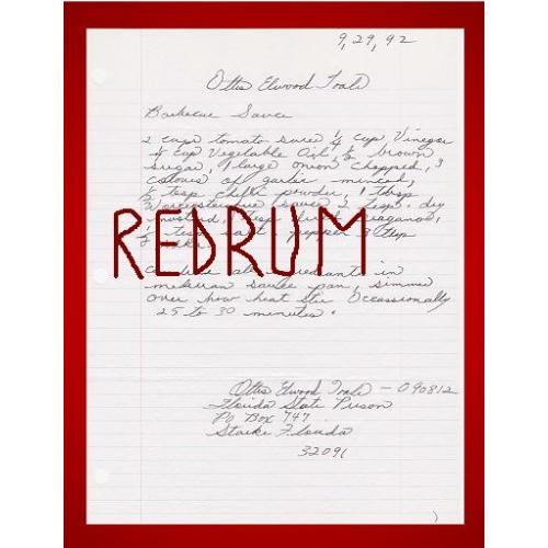 Ottis Elwood Toole Cannibal original handwritten BBQ sauce receipe signed from 1992