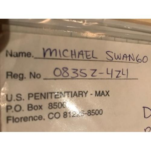 Michael Swango handwritten envelope with numerous lines penned by him from 2005